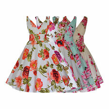 Ladies 1940's 1950's Vintage Style Cotton Flared Floral Dress New Sizes 8  -  28