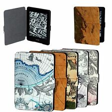 CY World Map Pattens Leather Case Cover Folio Skin For Amazon Kindle Paperwhite