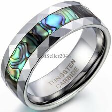 8mm Unisex Tungsten Carbide Ring with Abalone Shell Inlay Beveled Edge Design