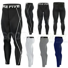 Mens Tight Pants Compression Leggings Base Layers Boys Rugby Gym Running Take 5