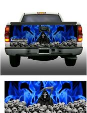 Blue flame skulls grim reaper truck tailgate vinyl graphic decal wraps