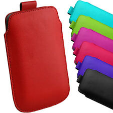 PREMIUM PU LEATHER PULL TAB CASE COVER SLIP IN POUCH FOR VARIOUS MOBILE PHONES