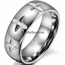 8mm Polished Dome Cross Grooved Comfort Fit Wedding Band Tungsten Carbide Ring