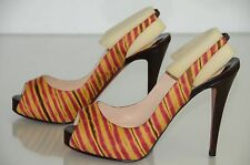New Christian Louboutin Numero Prive Red Brown Platform Slingback Shoes 40.5