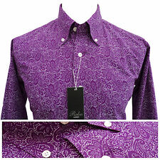 Relco Mens Purple Paisley Print Shirt NEW Button Down Collar Mod Vintage Retro