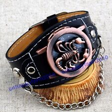 7 style Scorpions Spiders Eagle Skull Punk Series Leather Band Men Wrist Watches