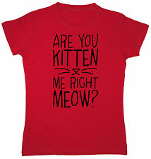 Are You Kitten Me Right Meow Funny Caturday Leopard Cat Print Humor Womens Top