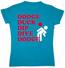 Dodge Duck Dip Dive Dodgeball Funny Retro Gym Sport Novelty Humor Womens T-Shirt