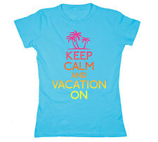 Keep Calm Vacation On Spring Break Neon - Womens T-Shirt