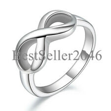 Silver Stainless Steel Love Infinity Symbol Ladies Engagement Ring Polished Band