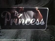 Princess with Butterfly License Plate All Mirror Plate & Chrome Vinyl Colors