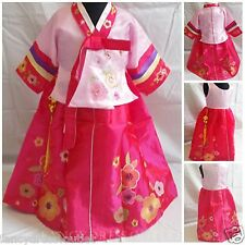 Korean Traditional Hanbok Floral Hot Pink Girls Dress Fancy Costume 1-10 Years