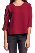 Lovers + Friends Intuition Blouse MAROON round neck wrapped back red merlot NEW