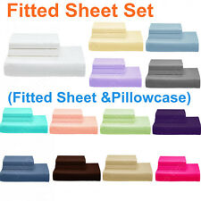 SINGLE-KING Single-DOUBLE-QUEEN&KING Bed FITTED SHEET Set(Fitted & Pillowcases)