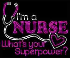 I'm a NURSE  What is your superpower?  New Rhinestone  V-Neck Shirt  XS - 2XL