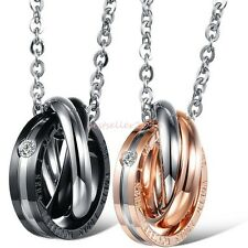 """"""" The world looks wonderful when i am with you """" Triple Rolling Rings Necklace"""