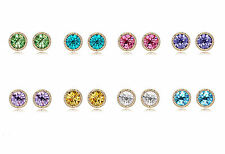 18K Yellow Gold Plated Crystal 8mm Earrings Studs made with Swarovski Crystals