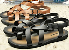 Men's Black Leather Gladiator flip flops toe ring Greek/Roman Sandals