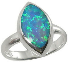 Sterling Silver Ring Eye Shape Inlay Blue Lab Created Opal 2639/OP