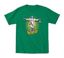 Jesus Saves Rio Brazil Statue Athletic Sports Soccer Goalie Football Mens Shirt