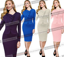 Women Elegant Vintage Tunic Peplum Wear To Work Cocktail Sheath Pencil Dress 513