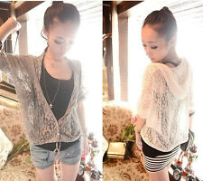 Womens Fashion Lace Hoodie Hollow Thin Cardigan Coat 2 Colors R809TD