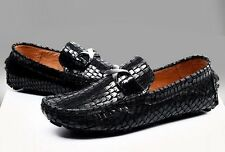 Men's Slip On Loafers snake skin leather Moccasins Driving  casual dress shoes