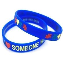 I LOVE SOMEONE with AUTISM Wristbands Medical ID Silicone Bracelet Puzzle Piece