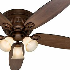 "Hunter 52"" Flush Mount Sienna Bronze Ceiling Fan - Optional Remote Control"