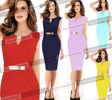 Women Sleeveless Celeb Keyhole Cocktail Party V-Neck Evening Pencil Dress 878
