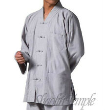 linen shaolin monk short gown~chinese suit kung fu buddhist meditation gray