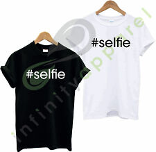 #SELFIE T SHIRT TOP TEE TSHIRT HIPSTER TUMBLR SELFIE SLOGAN SONG CELEBRITY DOPE