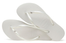 Havaianas Women`s Flip Flops Slim Crystal Glam SW Sandals White Any Size NWT