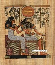 "Egyptian Papyrus Painting - Isis and Horus 8X12"" + Hand Painted #68"