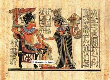 """Egyptian Papyrus Painting - King Tut and Wife 8X12"""" + Hand Painted #33"""