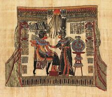 """Egyptian Papyrus Painting King Tut & his wife 7X9"""" + Hand Painted #38"""