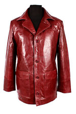 'FIGHT CLUB' Men's CHERRY Hollywood FILM Movie Style Leather Reefer Jacket Coat