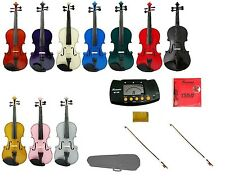 "NEW Viola,Case,2 Bows,2 Sets of Strings,Rosin,Metro Tuner 16""15""14""13""12""11""10"""