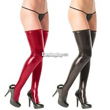 Sexy Women Faux Leather Long Stockings Thigh High Tights Hosiery Clubwear ES9P