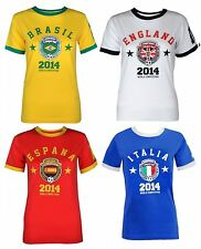 Womens World Cup 2014 T-Shirt Ladies Brasil England UK Flag Football Soccer Top