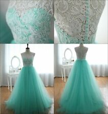 New Long Lace Tulle Evening Prom Bridesmaid Dress Formal Ball Gowns Size 6 -16