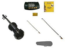 New Black Violin,Black Bow+Natural Bow,Case,2 Sets Strings,Rosin,Metro Tuner