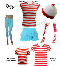 WOMENS MENS CHILDREN KIDS RED & WHITE STRIPED T SHIRT LOT FANCY DRESS COSTUME