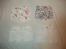 NEW JUSTICE GIRL WHITE SIZE 8S 8 10S 10 12 14 DENIM JEAN SHORTS SPLAT/LACE/PEACE