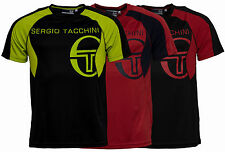 New Mens Sergio Tacchini Poly Training T-Shirt Top Black Red Gym Fitness Running