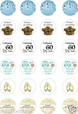24x PRECUT 60TH DIAMOND WEDDING ANNIVERSARY RICE/WAFER PAPER CUP CAKE TOPPERS