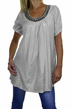 NEW (4038-3) Womens Short Sleeve Tunic Top Bead Stud Detail Silver 8-16