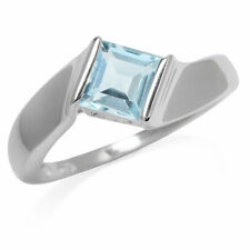 Blue Topaz Gemstone Square Solitaire Dainty Sterling Silver Ring
