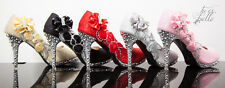 Wedding Bridal Bridesmaid Crystal Shoes Glitter High Heels Women  Evening Party