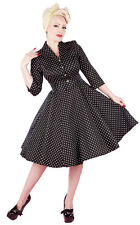 Ladies 40s 50s Vintage Style Black Polka Dot Classic Shirt Swing Dress New 8-18